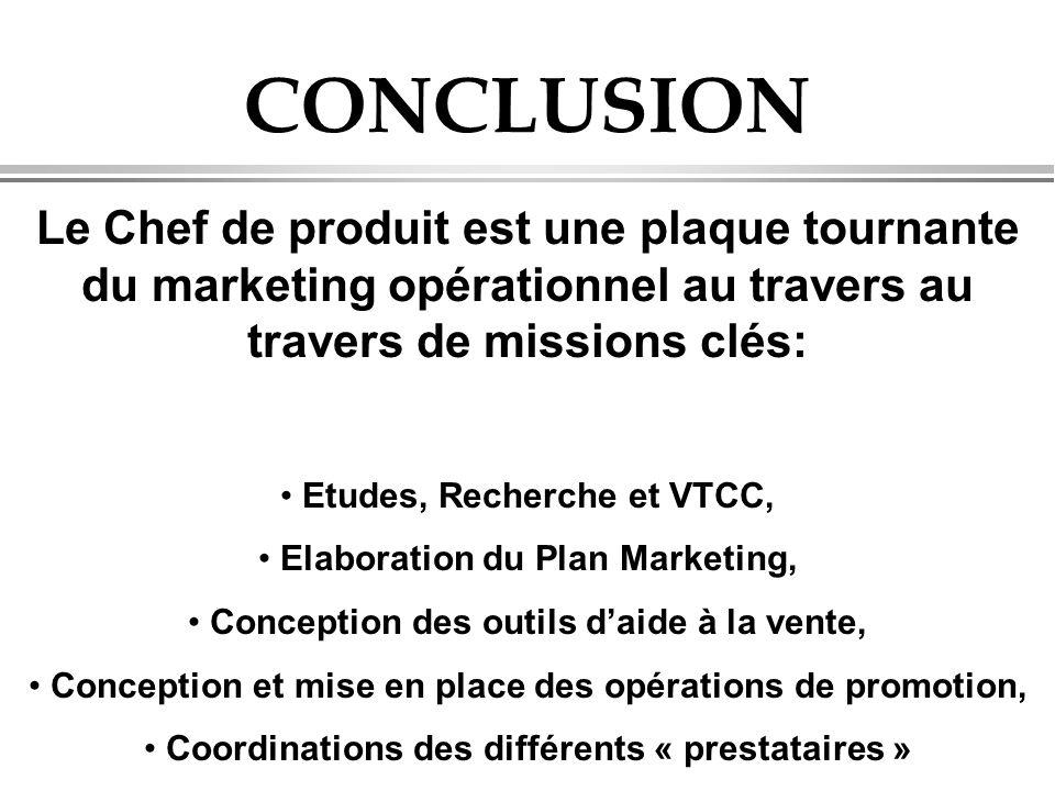 CONCLUSION Le Chef de produit est une plaque tournante du marketing opérationnel au travers au travers de missions clés: