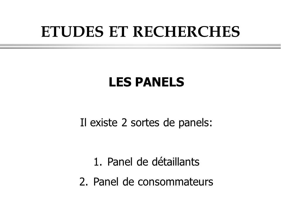 ETUDES ET RECHERCHES LES PANELS Il existe 2 sortes de panels: