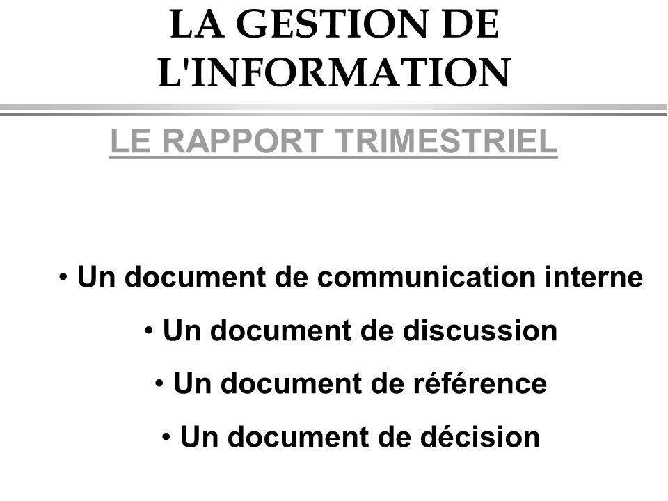 LA GESTION DE L INFORMATION