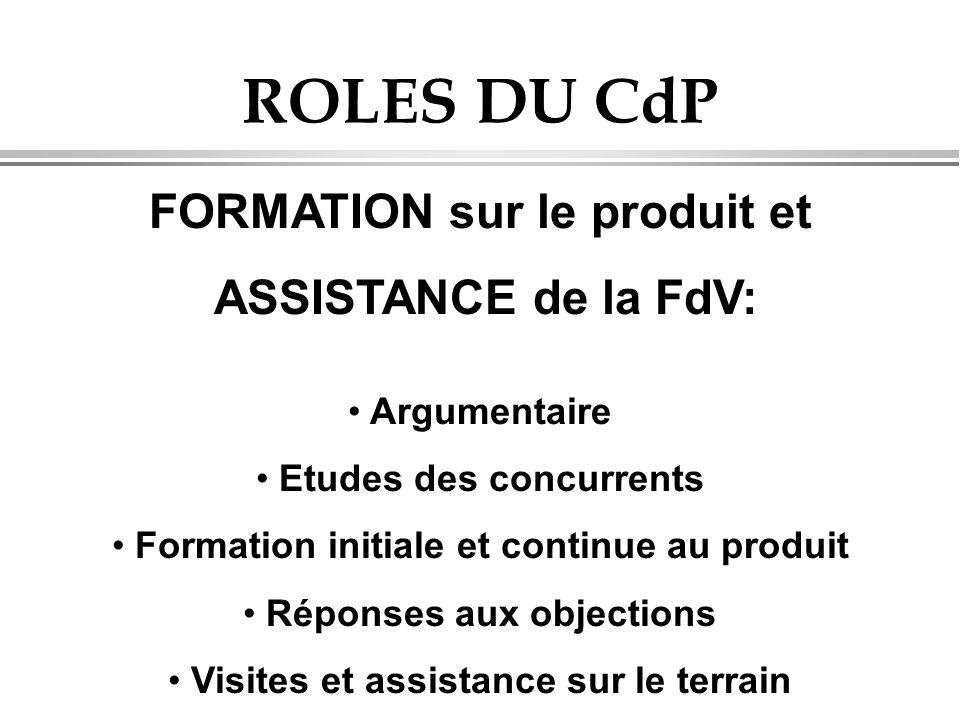 ROLES DU CdP FORMATION sur le produit et ASSISTANCE de la FdV: