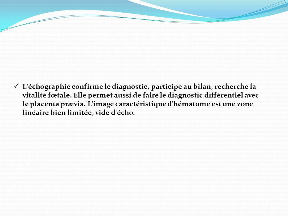 L échographie confirme le diagnostic, participe au bilan, recherche la vitalité fœtale.