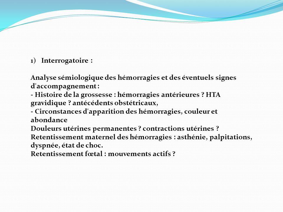 Interrogatoire : Analyse sémiologique des hémorragies et des éventuels signes d accompagnement :