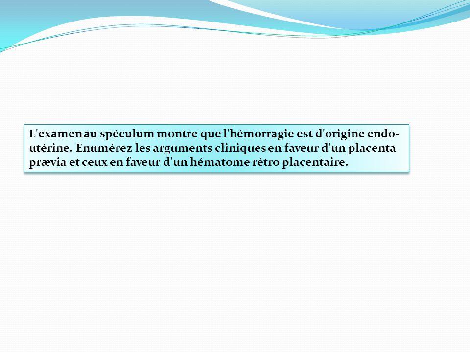L examen au spéculum montre que l hémorragie est d origine endo-utérine.
