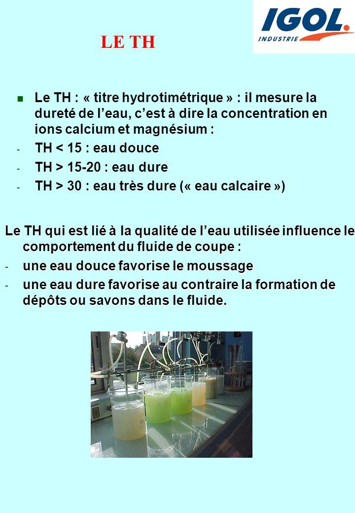 LE TH Le TH : « titre hydrotimétrique » : il mesure la dureté de l'eau, c'est à dire la concentration en ions calcium et magnésium :