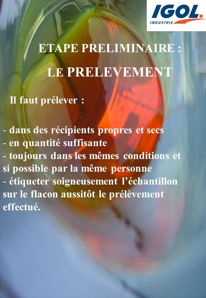ETAPE PRELIMINAIRE : LE PRELEVEMENT