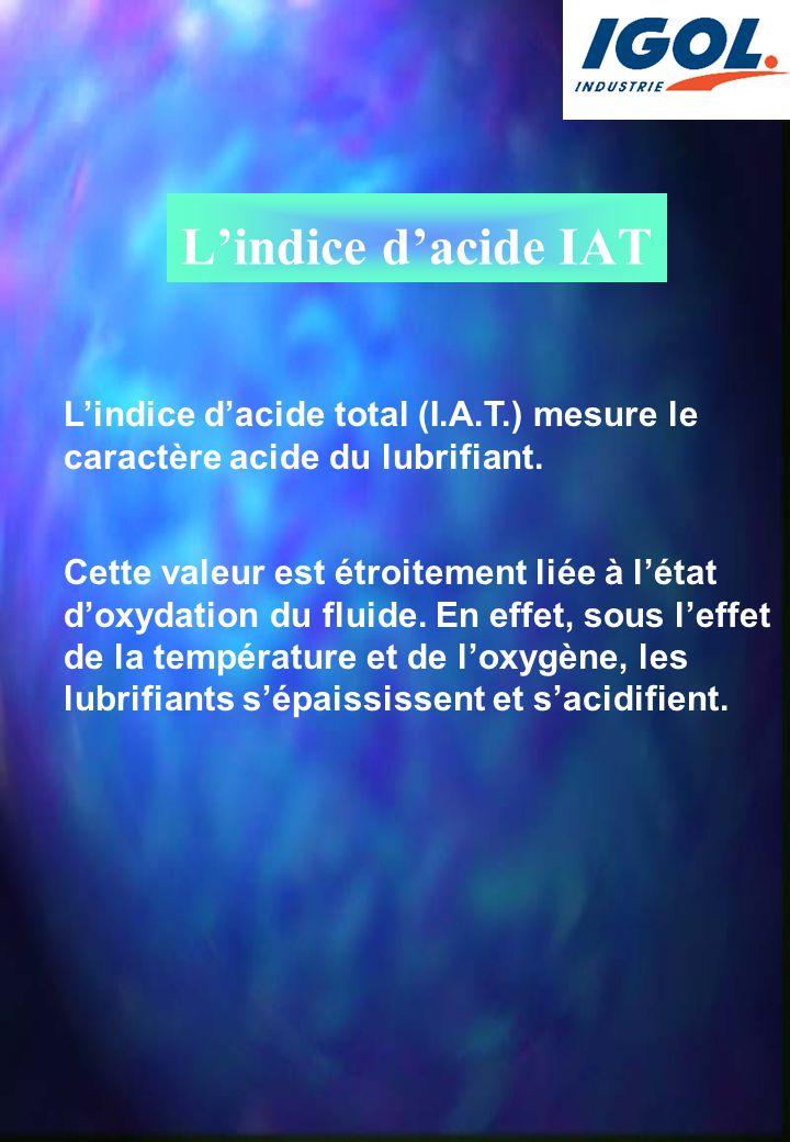 L'indice d'acide IAT L'indice d'acide total (I.A.T.) mesure le caractère acide du lubrifiant.
