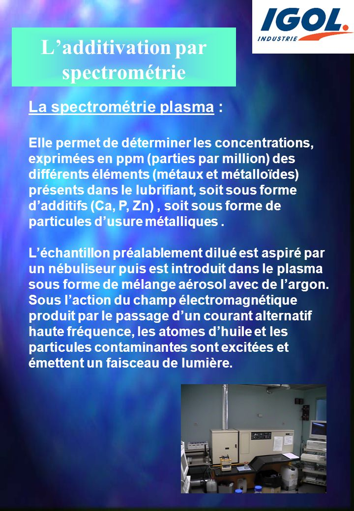 L'additivation par spectrométrie