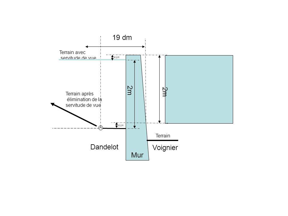 19 dm 2m 2m Dandelot Voignier Mur Terrain avec servitude de vue