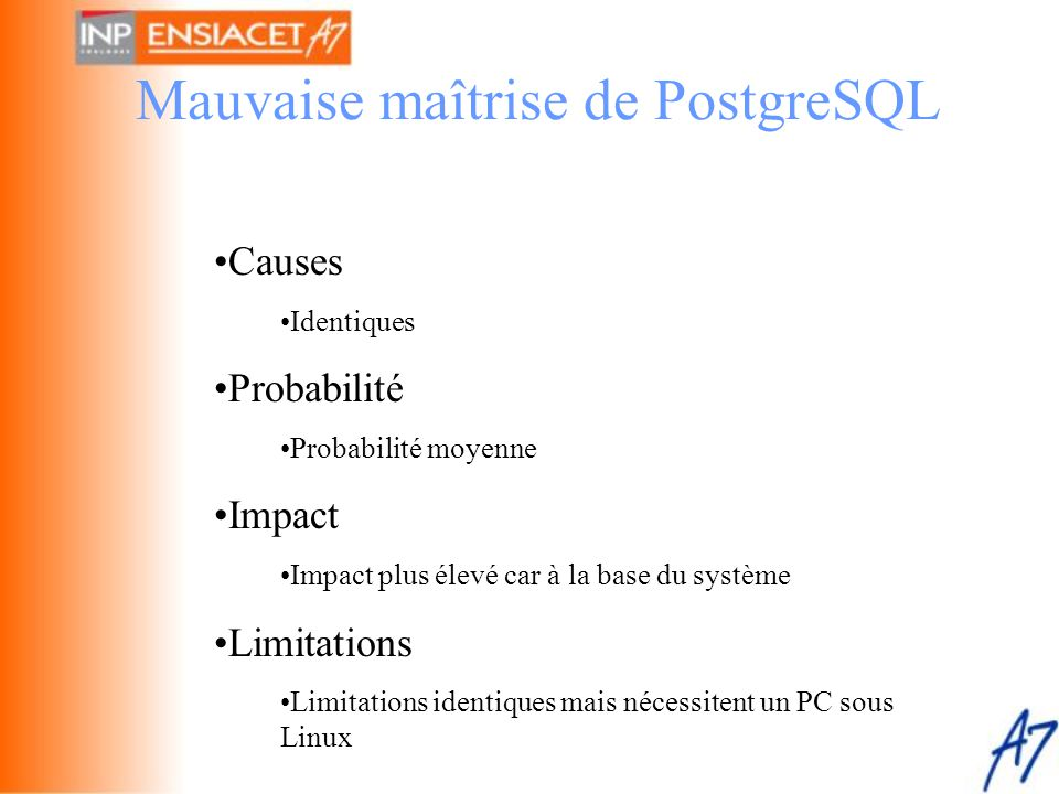 Mauvaise maîtrise de PostgreSQL