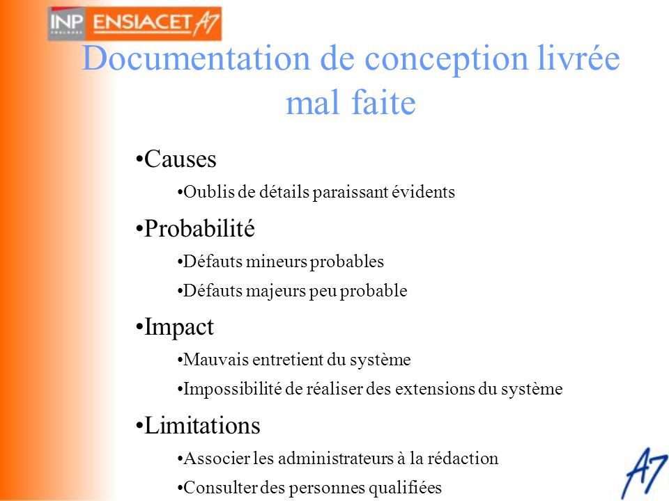 Documentation de conception livrée mal faite
