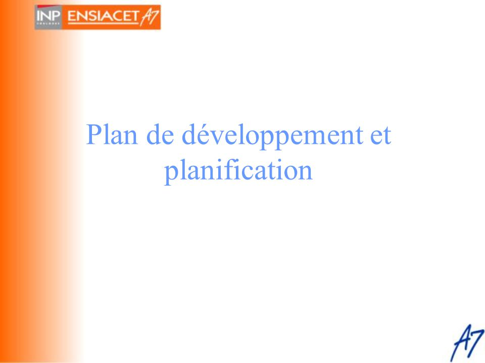 Plan de développement et planification