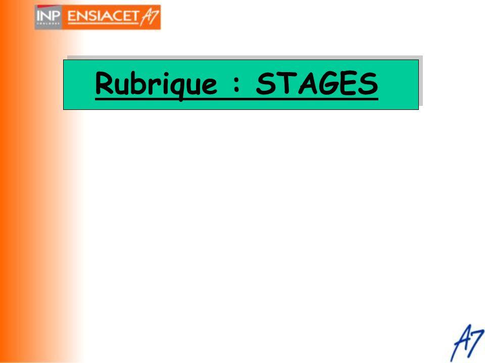 Rubrique : STAGES