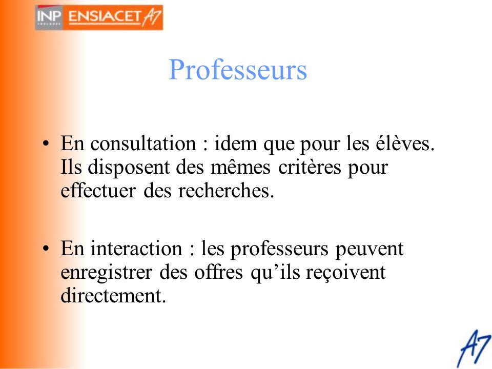 Professeurs En consultation : idem que pour les élèves. Ils disposent des mêmes critères pour effectuer des recherches.