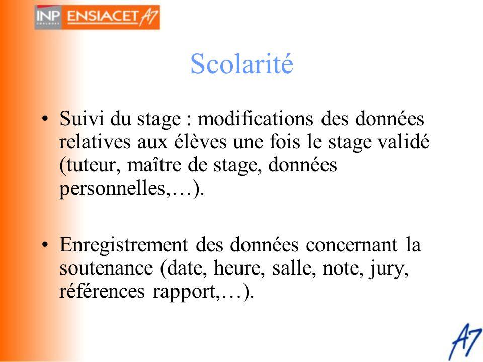 Scolarité Suivi du stage : modifications des données relatives aux élèves une fois le stage validé (tuteur, maître de stage, données personnelles,…).