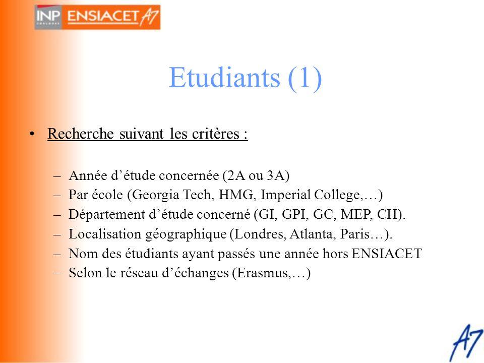 Etudiants (1) Recherche suivant les critères :