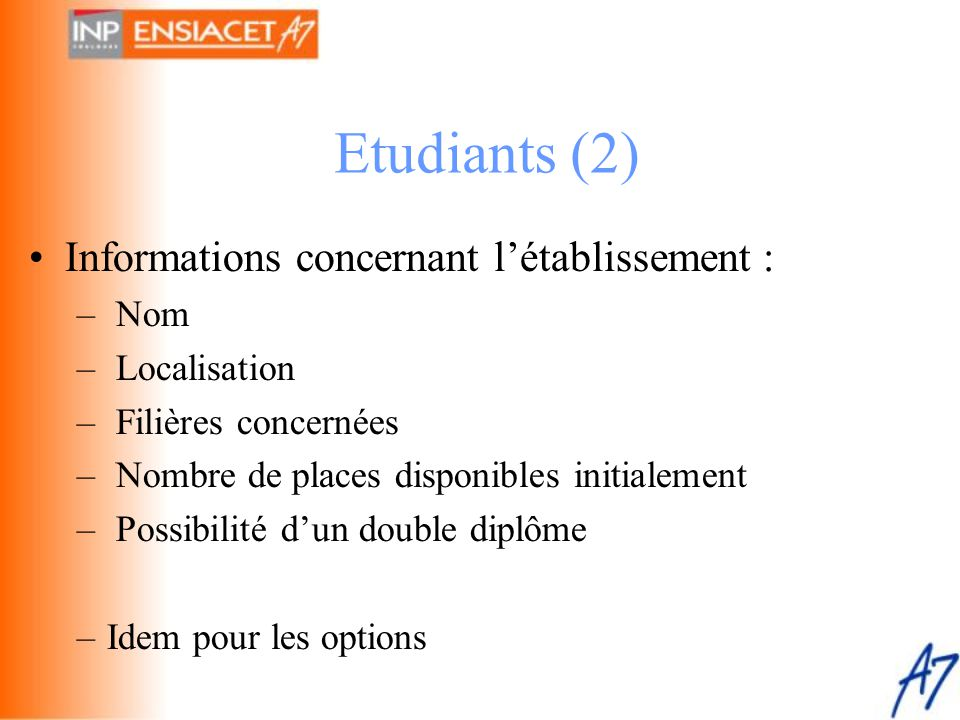 Etudiants (2) Informations concernant l'établissement : Nom