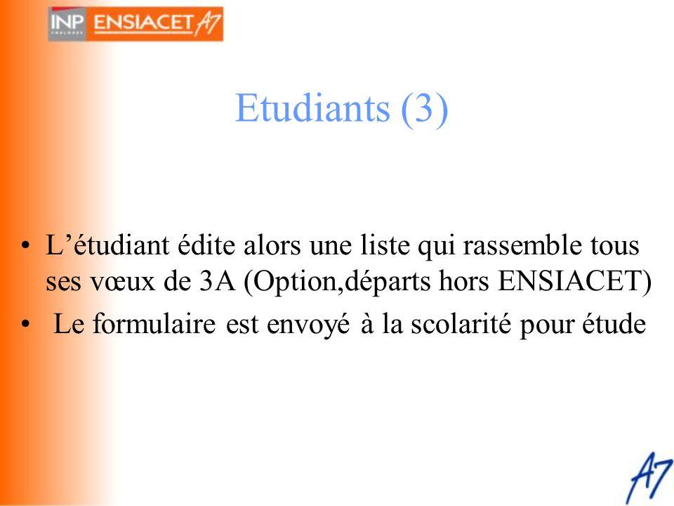 Etudiants (3) L'étudiant édite alors une liste qui rassemble tous ses vœux de 3A (Option,départs hors ENSIACET)