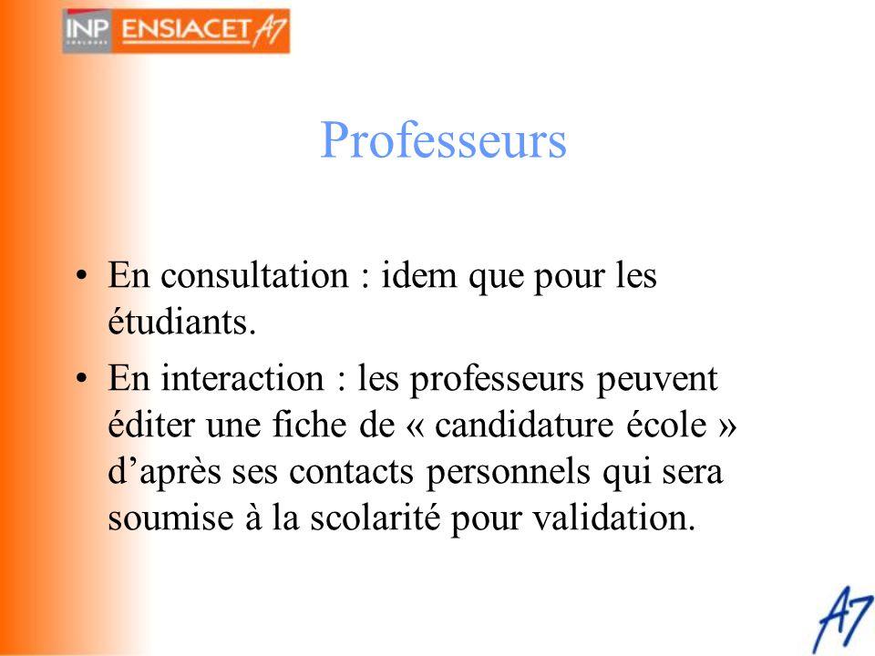 Professeurs En consultation : idem que pour les étudiants.