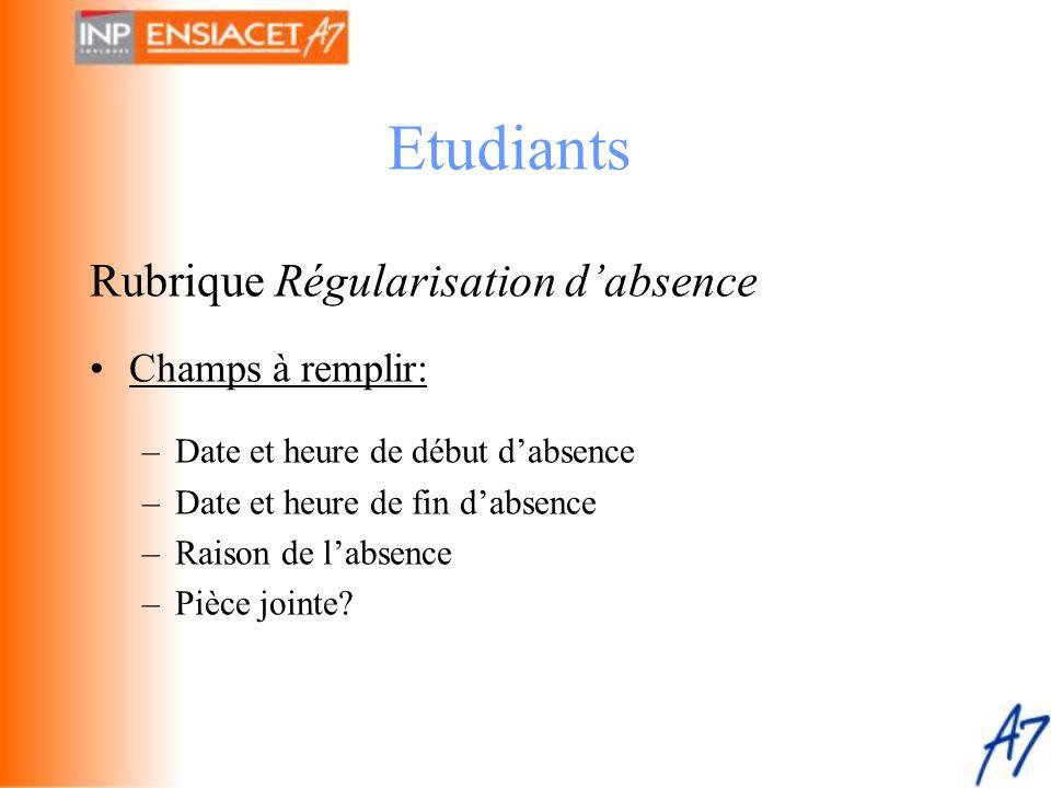 Etudiants Rubrique Régularisation d'absence Champs à remplir: