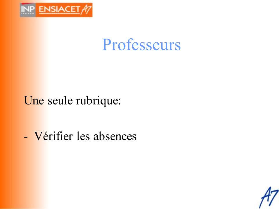 Professeurs Une seule rubrique: - Vérifier les absences