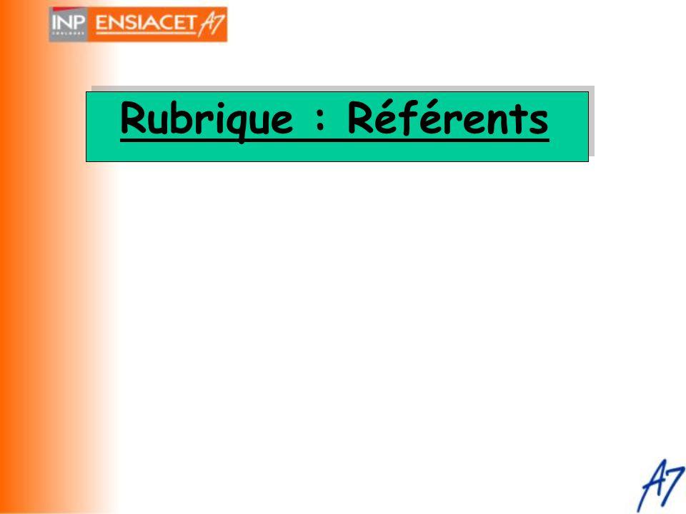 Rubrique : Référents