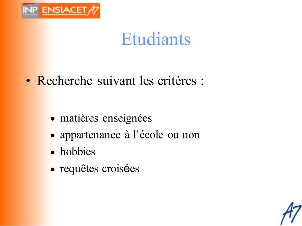 Etudiants Recherche suivant les critères : · matières enseignées