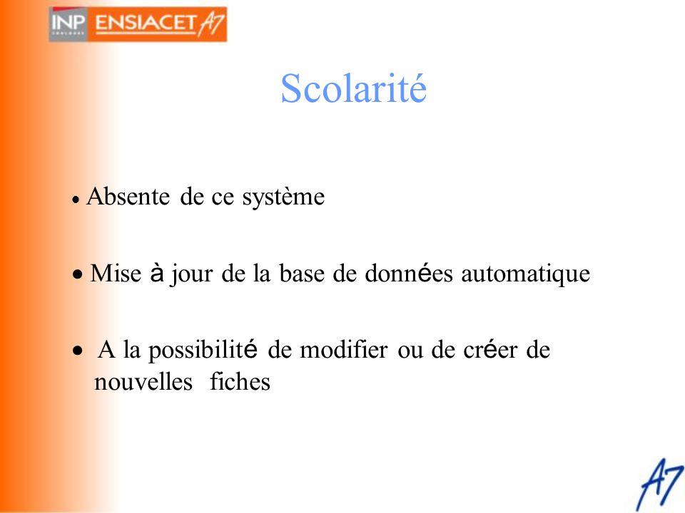 Scolarité · Mise à jour de la base de données automatique