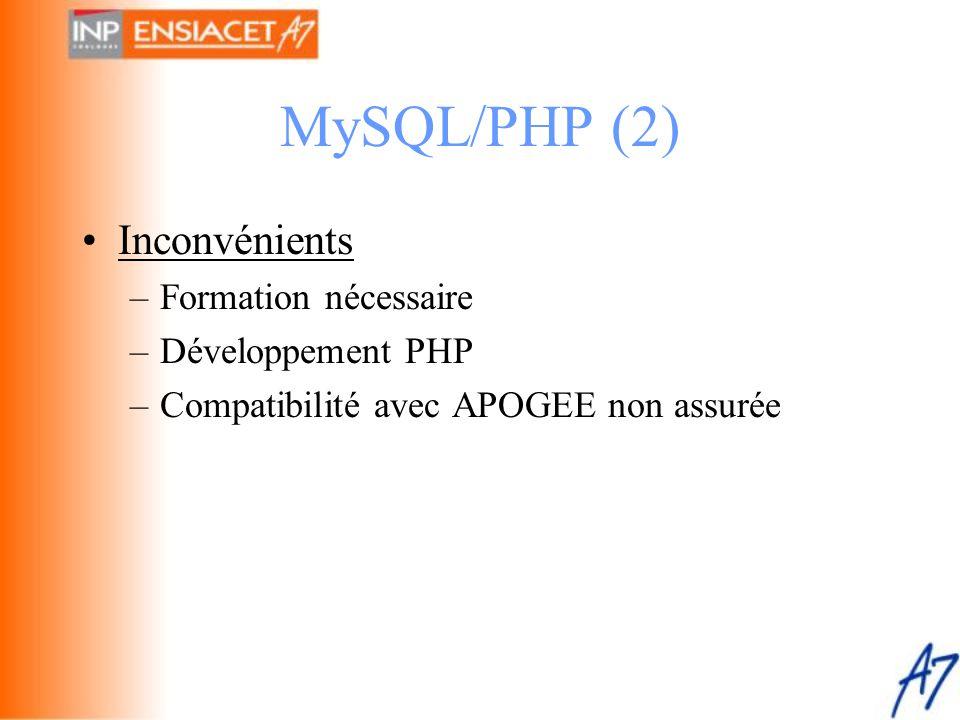 MySQL/PHP (2) Inconvénients Formation nécessaire Développement PHP