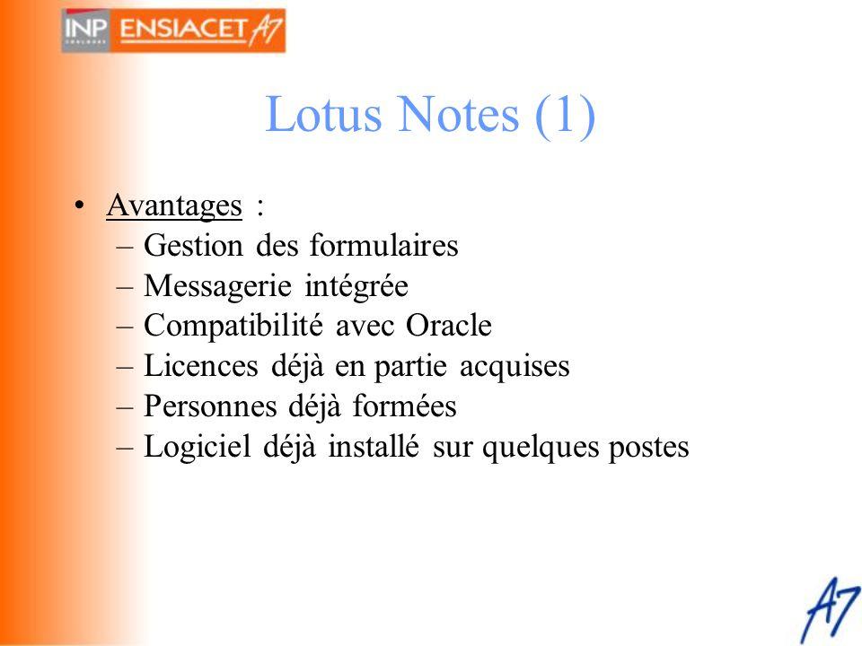 Lotus Notes (1) Avantages : Gestion des formulaires