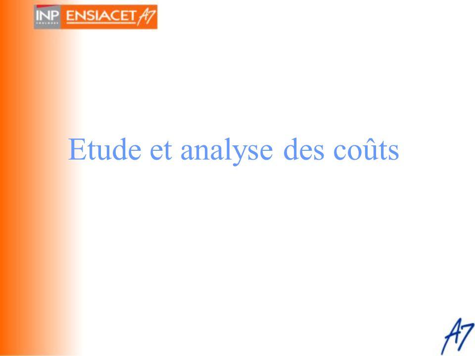Etude et analyse des coûts
