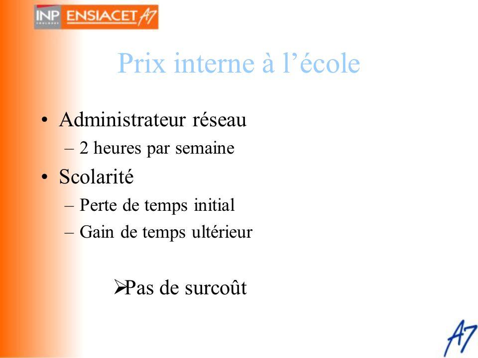 Prix interne à l'école Administrateur réseau Scolarité Pas de surcoût