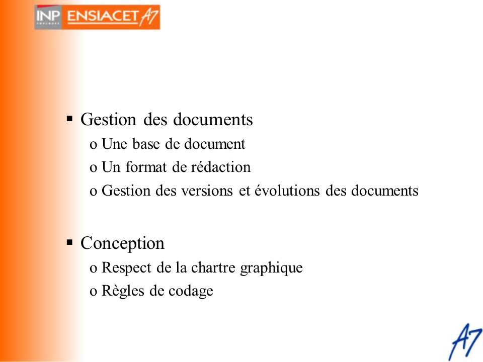 Gestion des documents Conception Une base de document