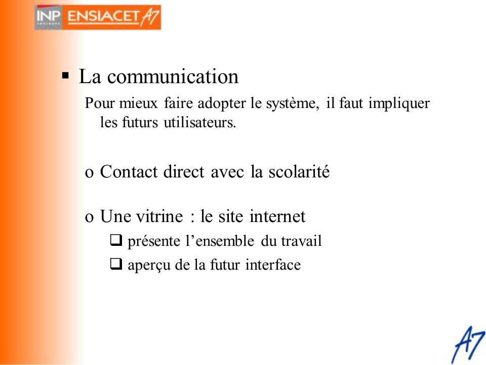 La communication Contact direct avec la scolarité