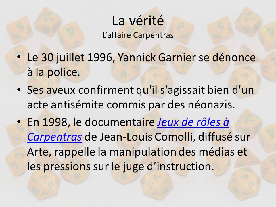 La vérité L'affaire Carpentras