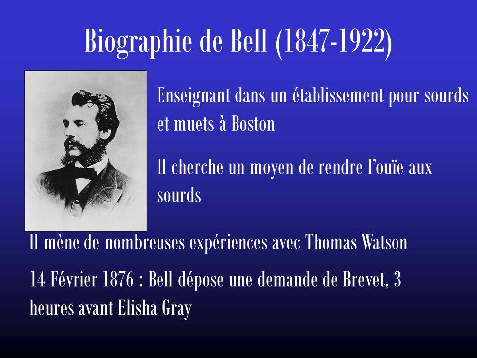 Biographie de Bell (1847-1922) Enseignant dans un établissement pour sourds et muets à Boston. Il cherche un moyen de rendre l'ouïe aux sourds.