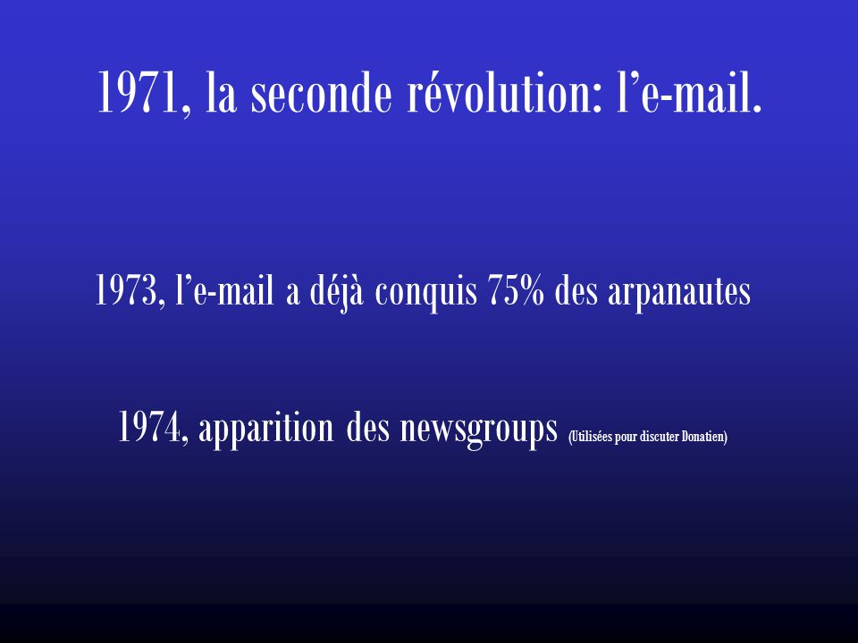 1971, la seconde révolution: l'e-mail.
