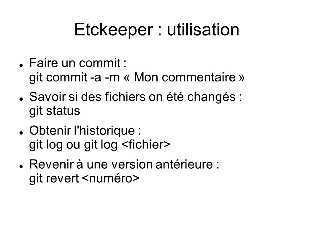 Etckeeper : utilisation
