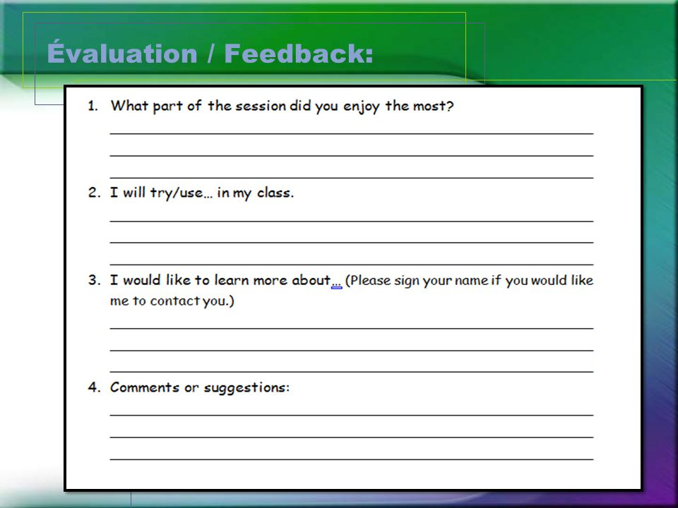 Évaluation / Feedback: