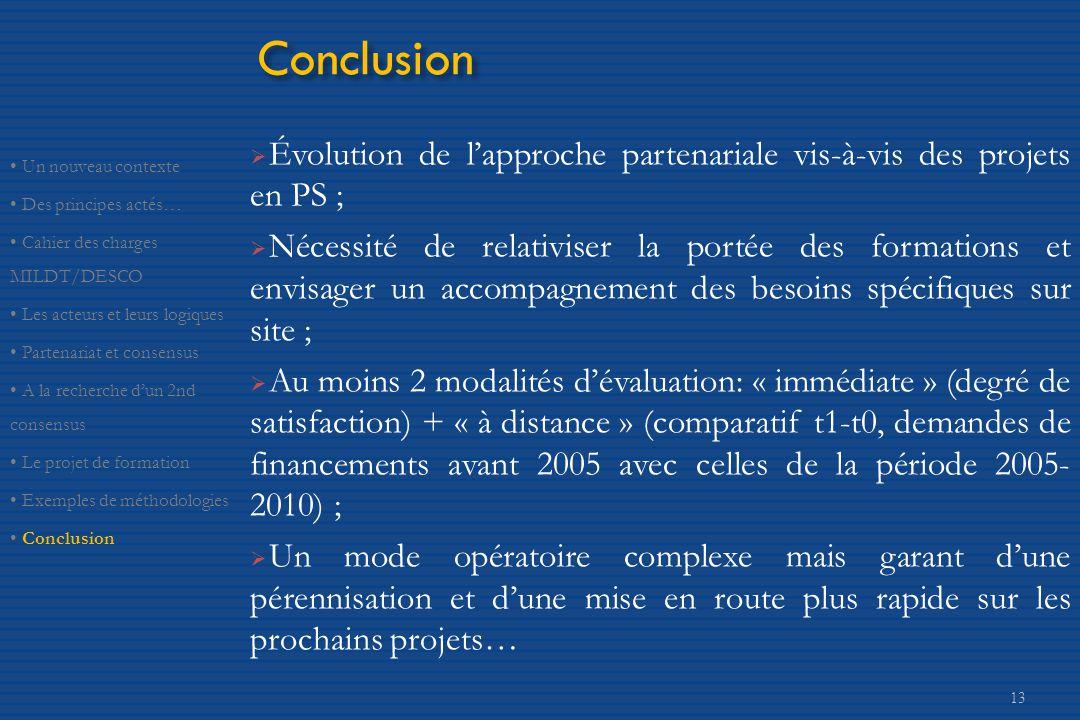 Conclusion Évolution de l'approche partenariale vis-à-vis des projets en PS ;