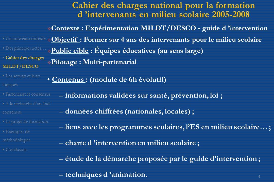 Cahier des charges national pour la formation d 'intervenants en milieu scolaire 2005-2008