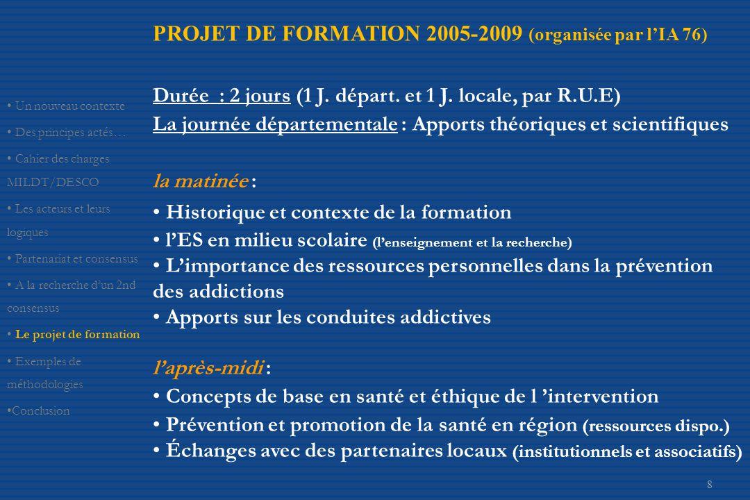 PROJET DE FORMATION 2005-2009 (organisée par l'IA 76)