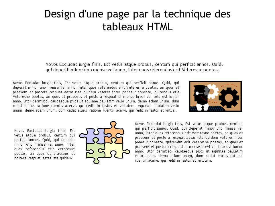 Design d une page par la technique des tableaux HTML