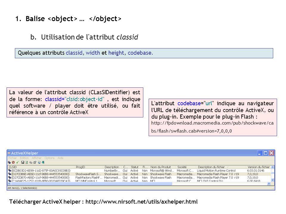 Balise <object> … </object>