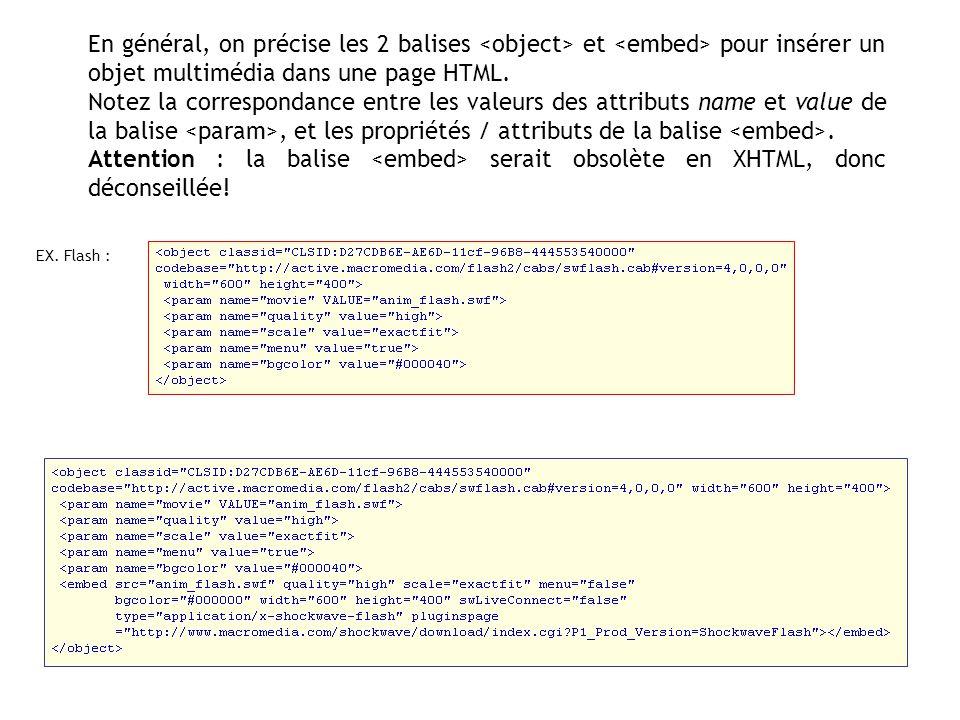 En général, on précise les 2 balises <object> et <embed> pour insérer un objet multimédia dans une page HTML.