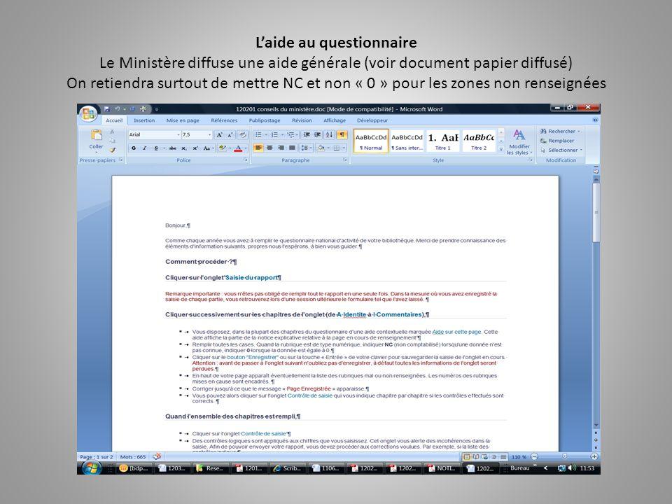 L'aide au questionnaire Le Ministère diffuse une aide générale (voir document papier diffusé) On retiendra surtout de mettre NC et non « 0 » pour les zones non renseignées