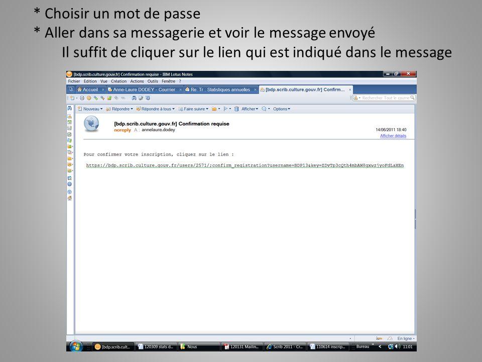 * Choisir un mot de passe * Aller dans sa messagerie et voir le message envoyé Il suffit de cliquer sur le lien qui est indiqué dans le message