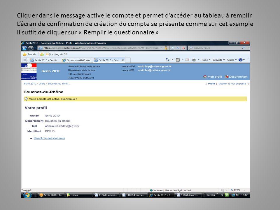 Cliquer dans le message active le compte et permet d'accéder au tableau à remplir L'écran de confirmation de création du compte se présente comme sur cet exemple Il suffit de cliquer sur « Remplir le questionnaire »