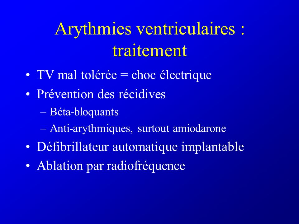 Arythmies ventriculaires : traitement