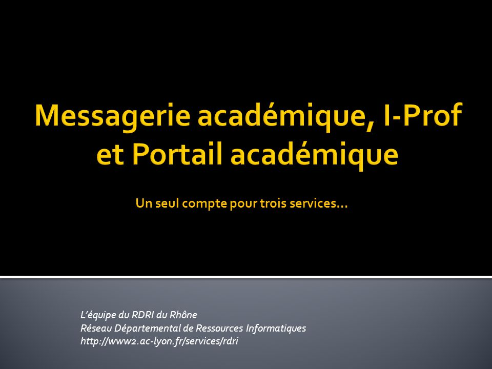Messagerie académique, I-Prof et Portail académique