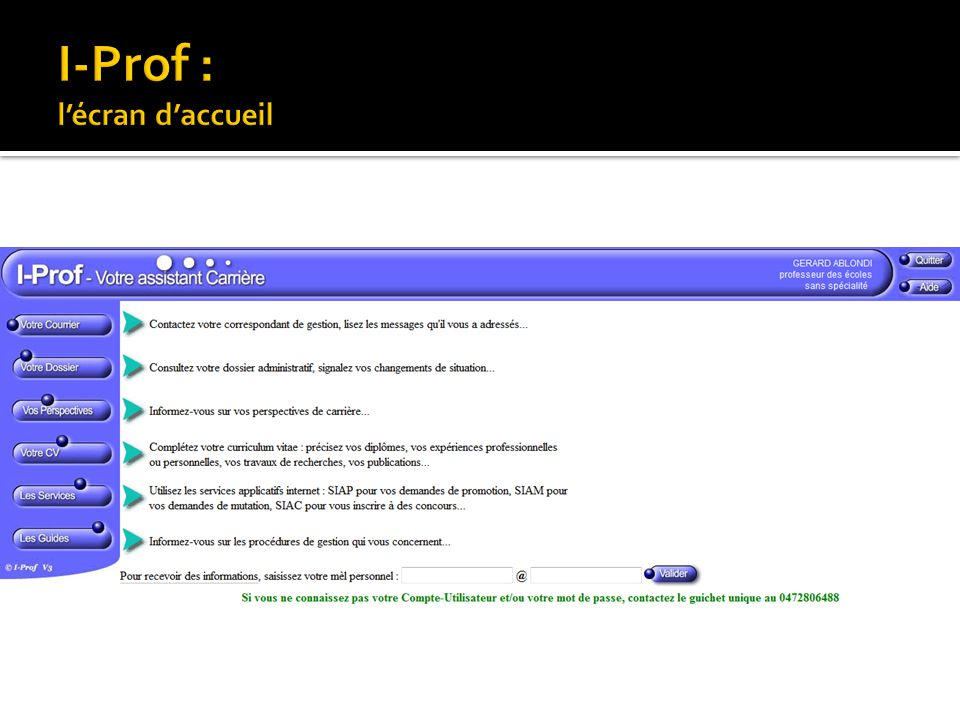 I-Prof : l'écran d'accueil